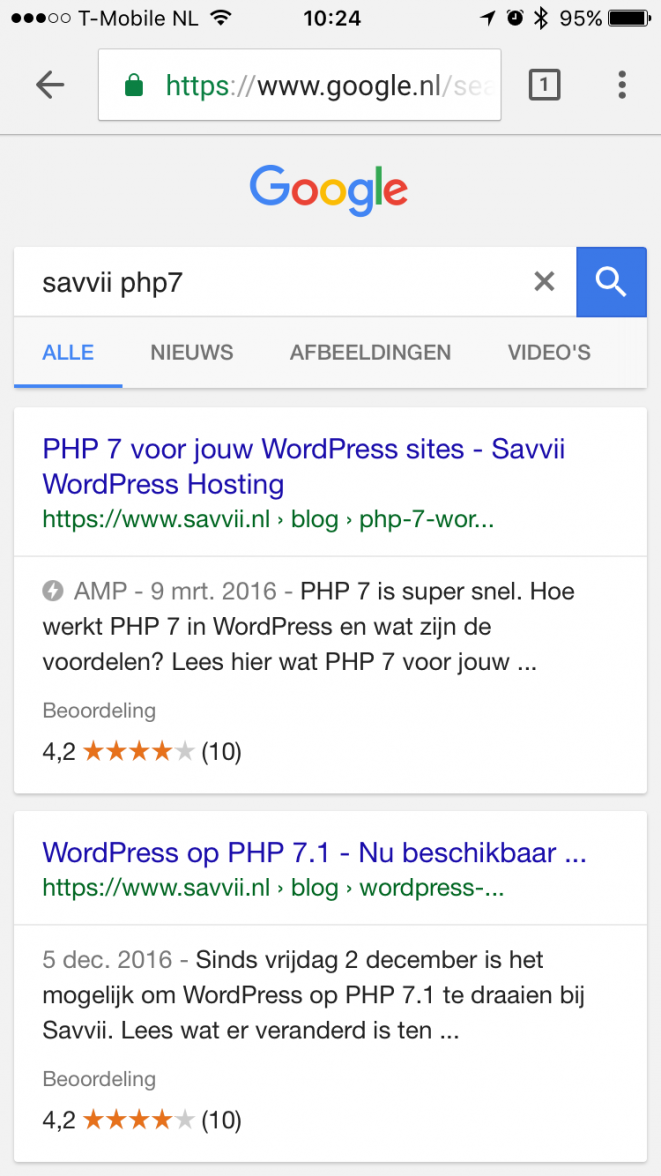 An AMP page in the search results