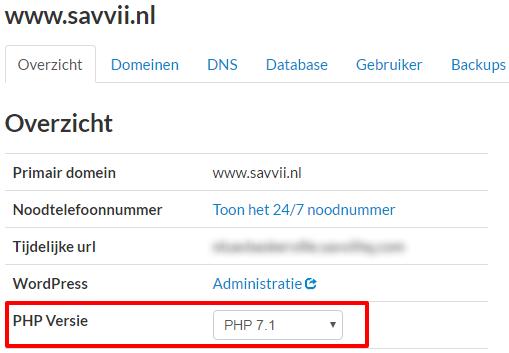 Menu om PHP 7.1 aan te zetten