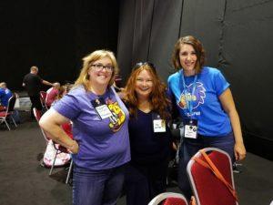 Bridget Willard, Jen Miller, and Paulina at WordCamp Europe Contributor Day.