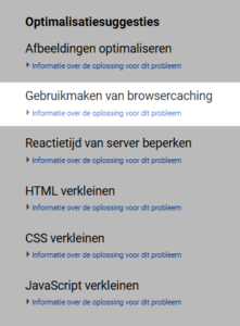 Optimalisatiesuggesties van Google