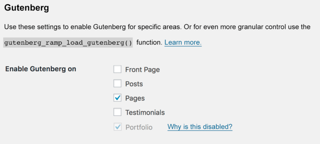 Gutenberg Ramp settings