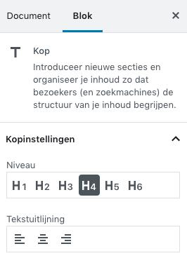 Header settings Gutenberg