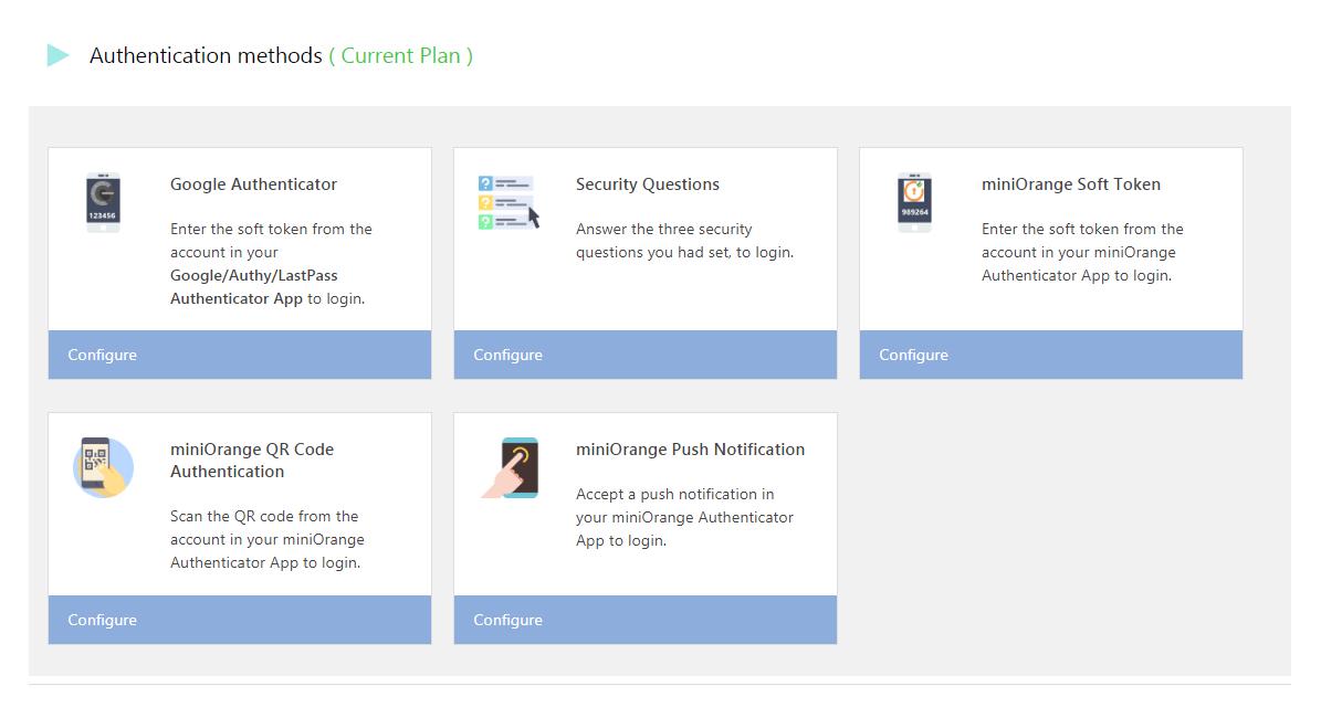 The miniOrange Authenticator plugin options.