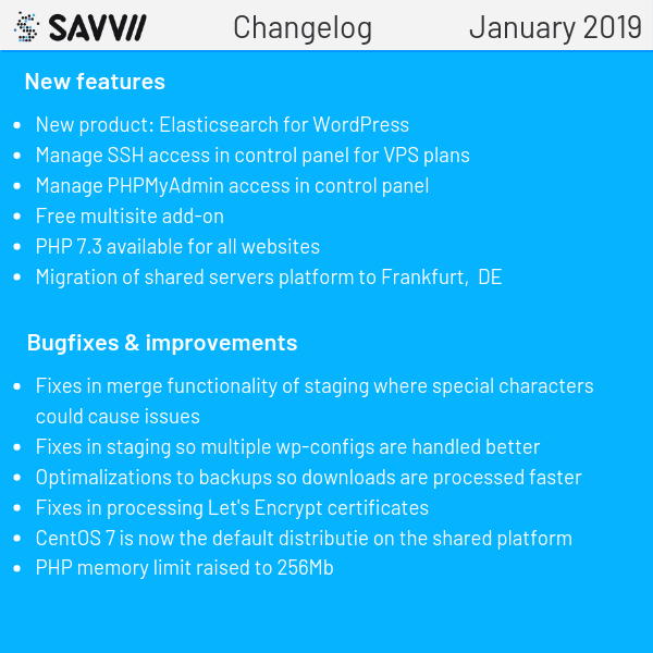 Changelog January 2019
