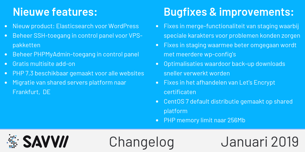 Changelog januari 2019
