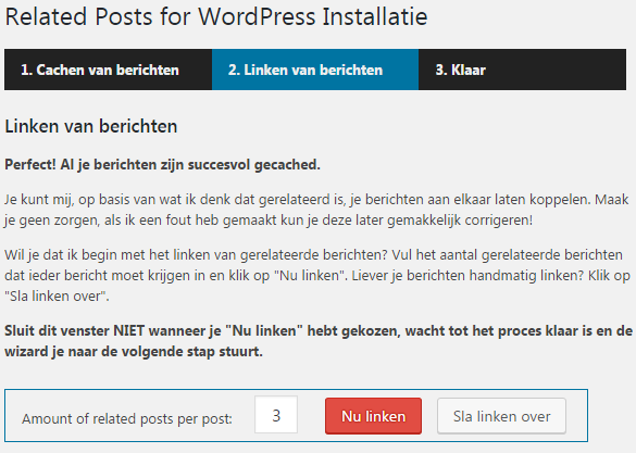 De installatiewizard van Related Posts for WordPress plugin verwelkomt je na de installatie.