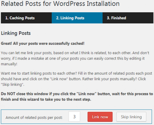 The Related Posts for WordPress Plugin installation wizard welcomes you after the installation.