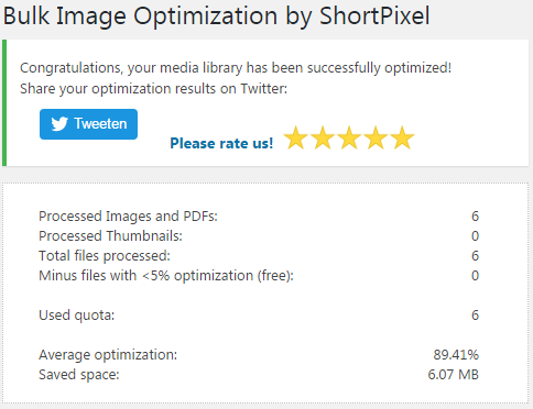 If you achieve a nice decrease in image size with the plugin, it invites you to share the results on Twitter!