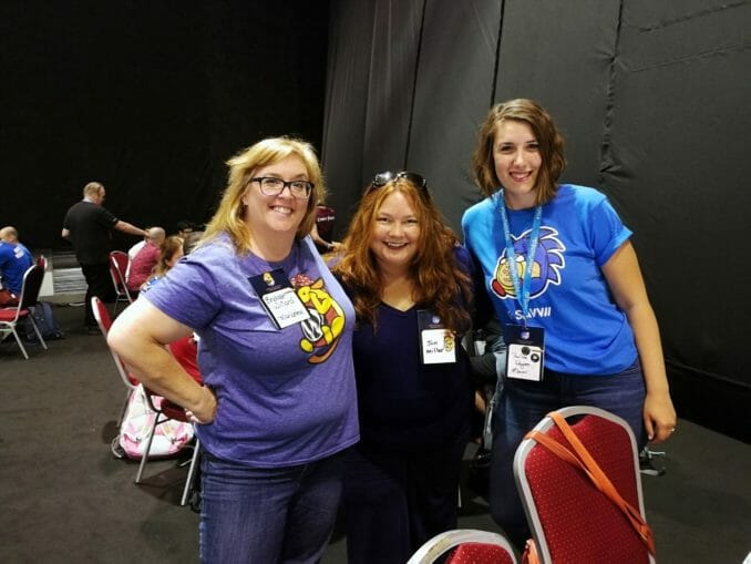 Bridget Willard, Jen Miller, and Paulina at WordCamp Europe Contributor Day.