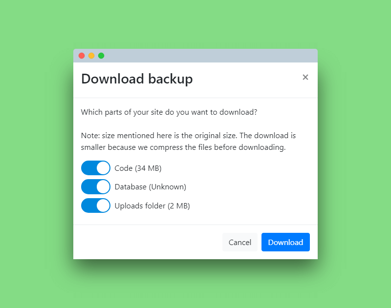 Download your backups