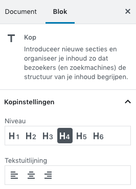 Header settings Gutenberg