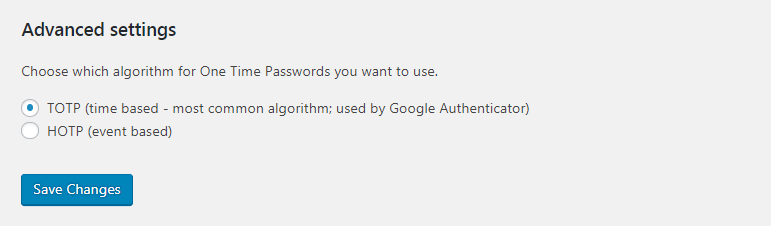 Two Factor Authentication advanced options.
