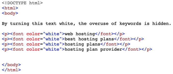 Code that turns specific keywords white.