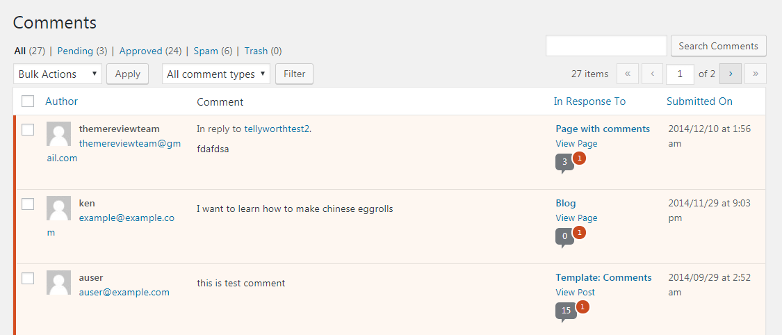 Spam comments in WordPress.